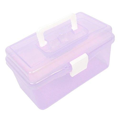 Plastic Handle 2 Layer Hardware Tools Storage Box, Clear Purple