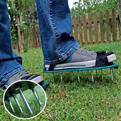 1 Pair Grass Spiked Gardening Walking Revitalizing Lawn Aerator Sandals Nail Shoes Garden Nail Cultivator