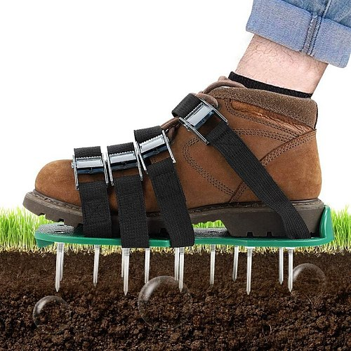 HOT Aerator Shoes 4 Adjustable Straps Heavy Duty Spiked Sandals Shoes with Metal Buckles One Size Fits All Spikes Shoes