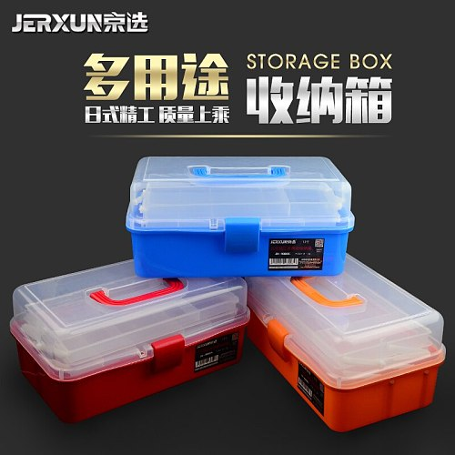 JERXUN Transparent Plastic Toolbox Manicure Fine Arts Toolbox Household Large Size Portable Toolbox Students Draw Toolbox