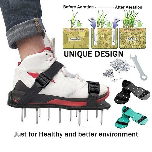 Lawn Aerator Shoes Grass Spiked Gardening Walking Revitalizing Lawn Aerator Sandals Shoes, Nail Shoes, Nail Grow Tool, Garden.