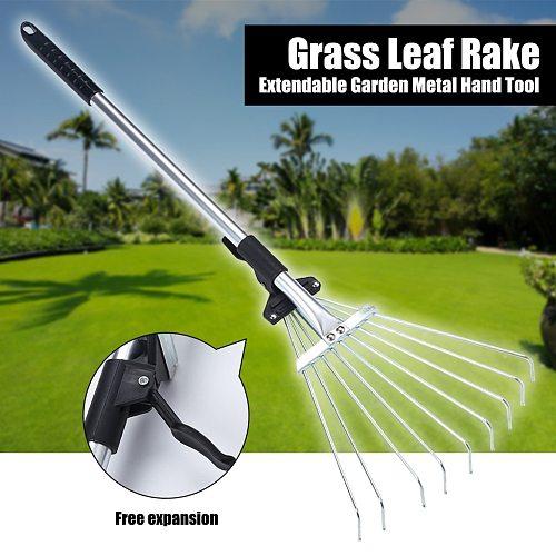 Deciduous Rake Telescopic Stainless Steel Round Head Garden Deciduous Rake 9 Tooth Grass Rake Garden Tool #YL5
