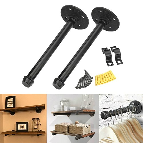 11 Inch Industrial Black Iron Pipe Shelf Bracket, Steampunk Decor Floating Shelves Hardware, Retro Wall Mounted Shelving Bracket
