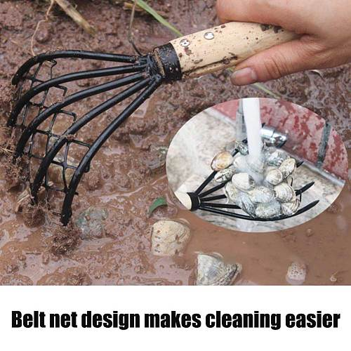 Dig Seafood Accessories Conch Home Wood Handle 5 Claw Pitchfork Useful Shell With Net Garden Beach Clam Rake Tool