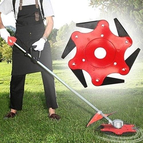 Lawn Mower Trimmer Head Manganese Steel Alloy Six-Cutter Hit Grass Head Garden Cutter Brush Cutter Tool 6 Steel Blades Razors