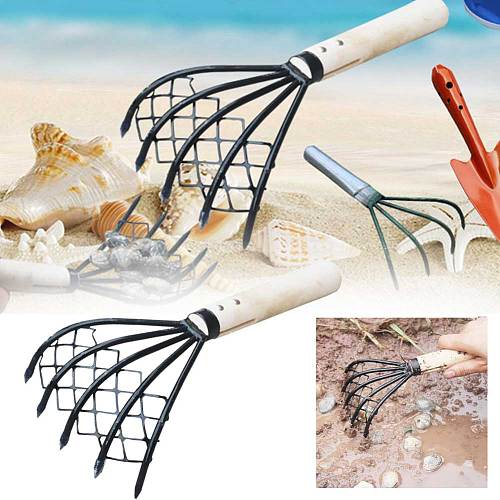 Accessories Wood Handle Tool Garden Clam Rake Pitchfork Shell Useful With Net Home Dig Seafood Conch 5 Claw Beach