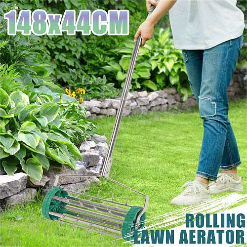 Lawn Aerator machine Garden Manual Aerators Tool Yard Grass Cultivator Scarification Push Spike Aerator Rolling Lawn New arrival