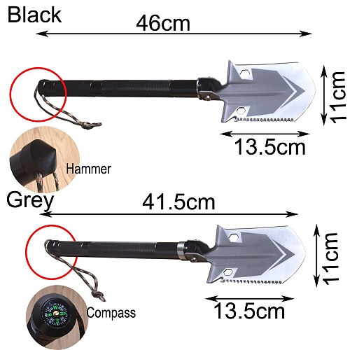 King Sea Small Size Multifunctional Survival  Shovel Chinese Military Folding Shovel Outdoor Tools with Hammer Knife and Compass