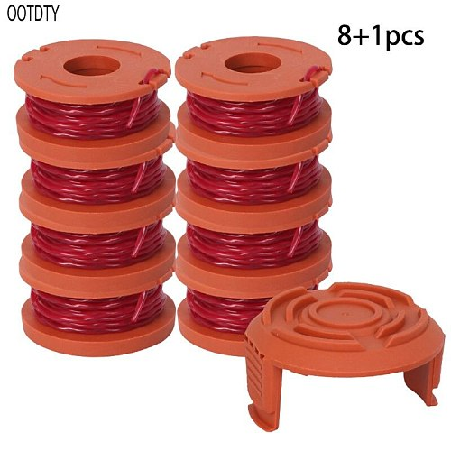 Line String Trimmer Replacement Spool 3M String Trimmer Spool Line for WORX, 9 Pack (8 Pack Grass Trimmer Line, 1 Trimmer Cap)