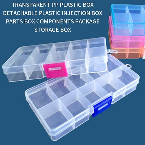 10 Slots Cells Colorful Portable Jewelry Tool Storage Box Container Ring Electronic Parts Screw Beads Organizer Plastic Case