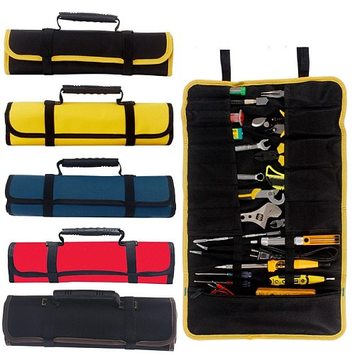 Reel Rolling Tool Bag Tool Storage Bags Oxford Canvas Chisel Roll Bag For Tool Pouch Quick-pick Work Waist Tool Bag For Handware
