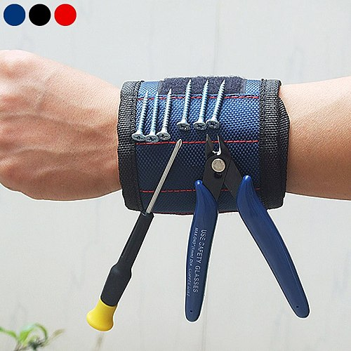 Fashion Strong Magnetic Wristband Adjustable Wrist Support Bands For Screws Nails Nuts Bolts Drill Bit Holder Tool Belt PLD