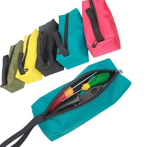 Oxford Canvas Waterproof Storage Hand Tool Bag Screws Nails Drill Bit Fishing Travel Makeup Organizer Pouch Bag Case 5 Colors