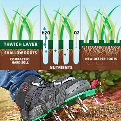 4 Straps Adjustable Lawn Aerator Shoes Quick Loose Soil Release Spiked Soil Aerating Sandals for Yard Patio Lawn Garden