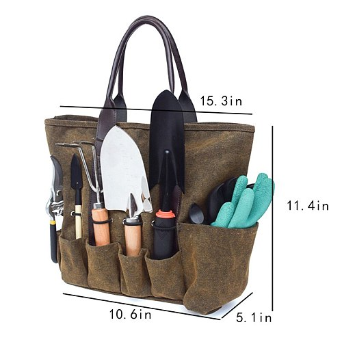 Canvas Garden Tool Tote Bag Electrician Tool Pouch Organizer Storage Bag for Gardening Tools Packaging 38.9x13x29cm TB Sale