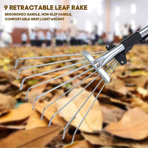 9 Teeth Fan Broom Garden Cleanig Leaf Garbage Telescopic Collect Loose Debris Yards Garden Rake Lightweight