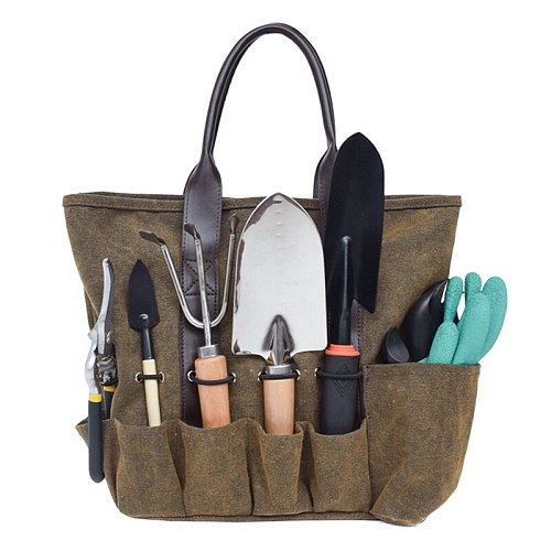 Canvas Garden Tool Tote Bag Electrician Tool Pouch Organizer Storage Bag for Gardening Tools Packaging 38.9x13x29cm WWO66