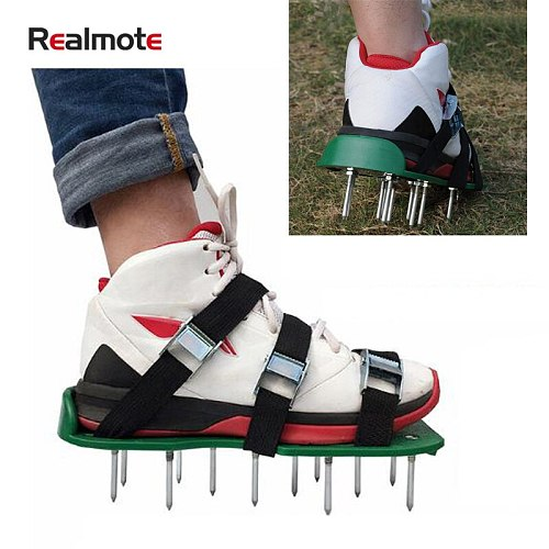 Realmote Gardening Scarification Shoes Three Shoelaces Season Garden Art Lawn Tools Grassland Turquoise Fitness Nail Shoes