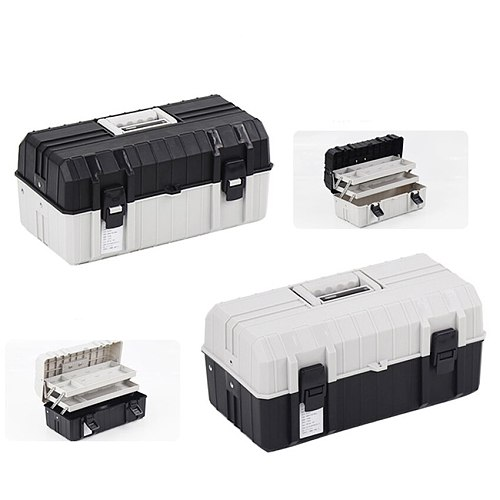 17 Inch Three Layer Plastic Foldable Toolbox Household Maintenance Electrician Tool  Storage Case Multi-functional Box