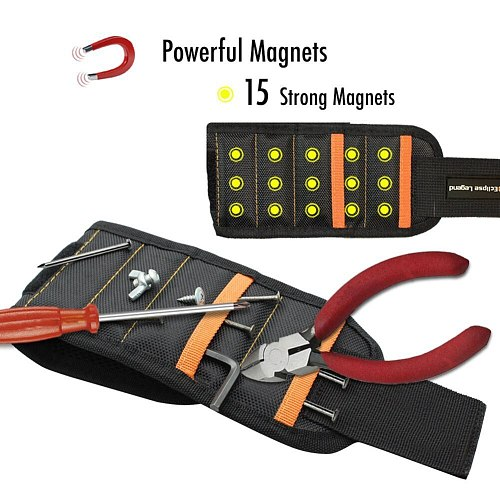 Magnetic Wristband With 10/15pcs Strong Magnets Screw Drill Bits Holder Electrician Tool Belt LO88