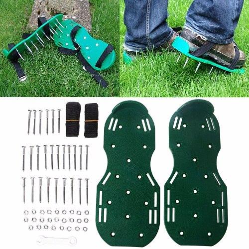1 Pair Green Garden Yard Grass Cultivator Scarification Lawn Aerator Nail Shoes Tool