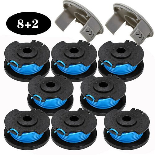 8pcs Trimmer Spool Line with 2 Spool Covers For Ryobi One Lawn Mower AC14RL3A Garden Grass Trimmer Head For Lawn Mower