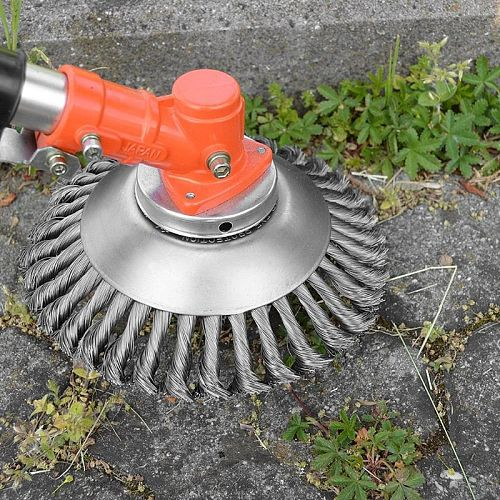 6/8 inch Steel Wire Grass Brush Trimmer Head Lawn Mower Grass Eater Wheel Weeding Brush Cutter Tools Part Garden Lawn Care Tool