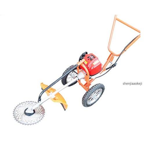 1PC Hand Push-type Four-stroke Gasoline Weeder Lawn Mower Machine 37.7CC Multi-use Weeding Machine Home Lawn Mowing Machine