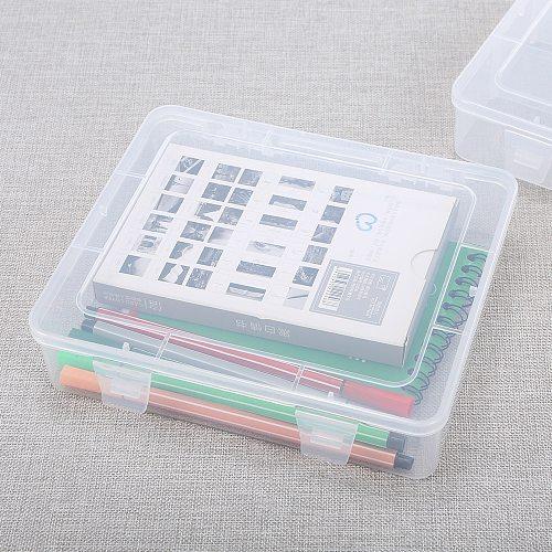 Portable Transparent Lastics Box A4 Paper Storage box Single Compartment Tool Stationery Storage Box