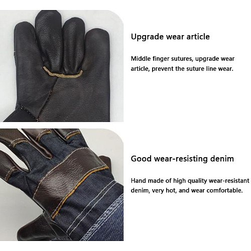 FGHGF gloves Welding First layer cowhide leather dark denim short leather garden carpenter blacksmith labor protection