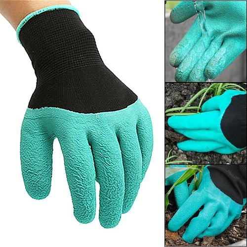 Garden Gloves 4 Hand Claw ABS Plastic Rubber Gloves Quick Excavation Plant Waterproof Insulation Home Living Essential Gadgets