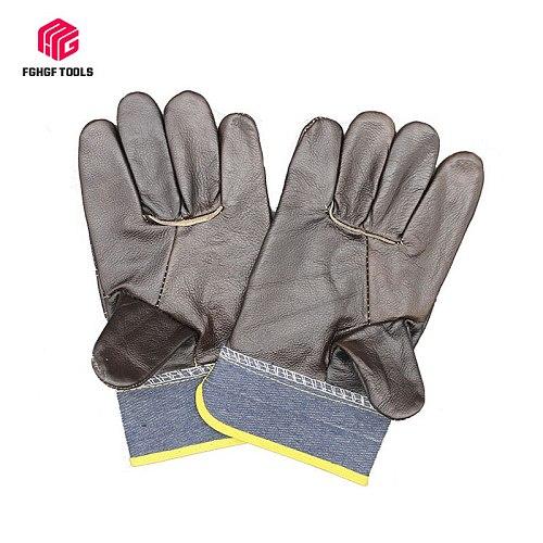 Welding gloves First layer cowhide leather dark denim short leather garden carpenter blacksmith labor protection