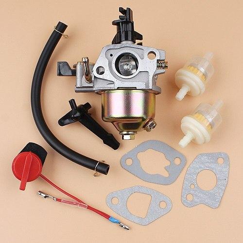 Carburetor Carb Gasket Kill Switch Fuel Hose Filter Set Fit Honda GX160 GX200 GX 160 200 168F 5.5/6.5HP Gas Engine Generator