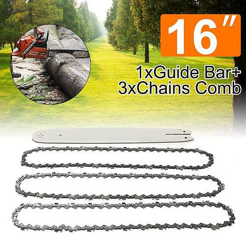 NEW 4Pcs/Set 16 Inch 3/8LP 050  Chain Saw Guide Bar With 3pcs Chains For STIHL 009 012 021 E180 MS180 MS190 MS250 HT70