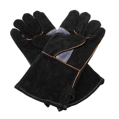 Black Welding Work Gloves Welders Leather Kitchen Stove Heat Puncture Resistant BBQ Garden Gloves 14/16 Inch