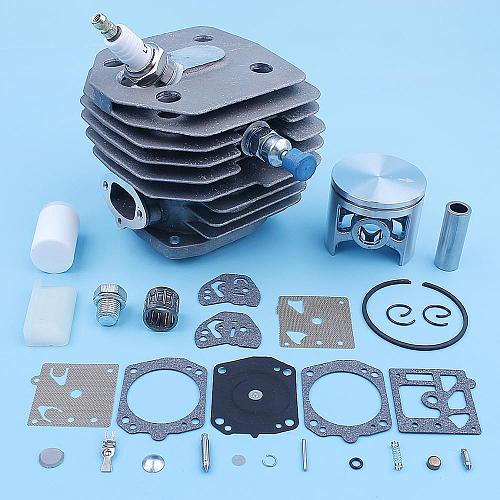 45mm Cylinder Piston Bearing Carb Kit For Husqvarna 154 254 154XP 254XP Chainsaw Spark Plug Decompression Fuel Filter Spare Part