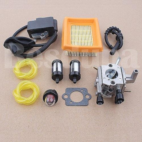 Carburetor Ignition Coil Gasket Air Filter Kit For Stihl FS120 FS200 FS250 FS300 FS350 Trimmer 4134 120 0603 w Fuel Line Pipe