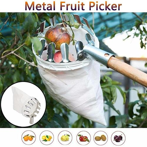Fruit Picker Metal Orchard Gardening Peach Apple Picking Tools Pole Fruit Catcher Collector Orchard and Garden Gathering Tools