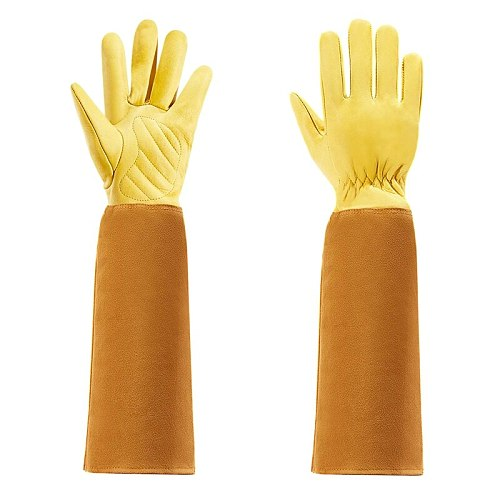Gardening Gloves for Women and Men Thron Proof Rose Pruning Cow Leather Gloves with Long Forearm Protection Gauntlet-S