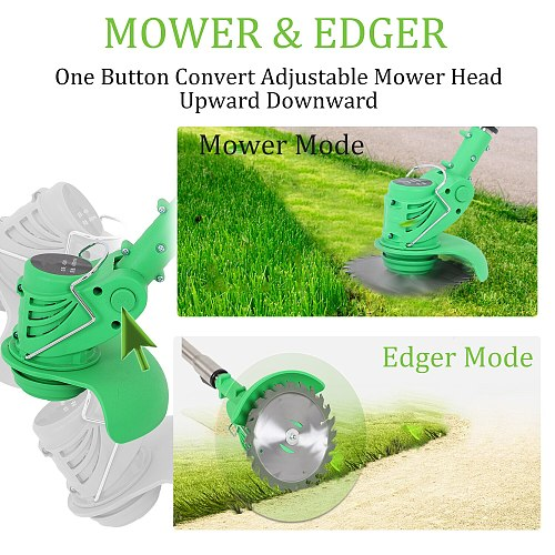 Electric Grass Trimmer Edger Lawn Mower Grass Cutter 21V 3000mAh Lithium-Ion Cordless Weed Brush Cutter Kit Garden Tools
