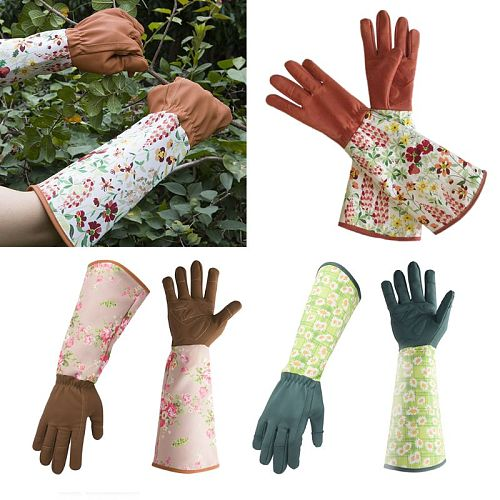 Long Sleeve Leather Gardening Gloves Puncture Resistant Padded Palm Reinforced Fingertips Pruning Floral Gauntlet Cover