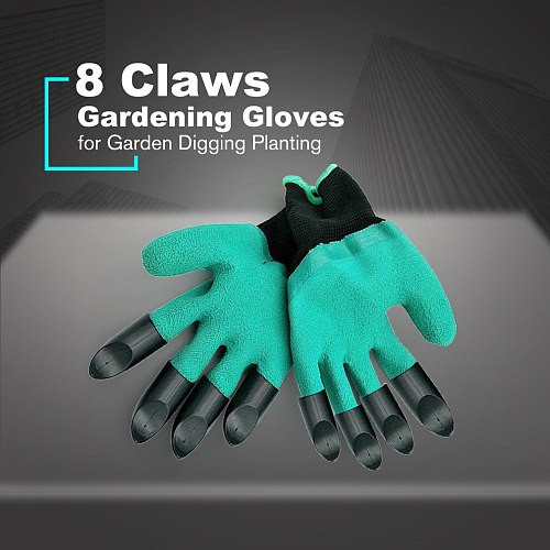 1 Pair Gardening Gloves for Garden Digging Planting with 8 ABS Plastic Claws Garden Working Protection Gloves Garden Gloves