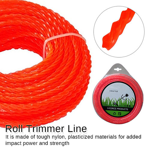 Red Threaded Nylon Strimmer Line 3mm Diameter Cord Grass Trimmer Line Grass Cutting Weed Cutter Trimmer Replacement Part