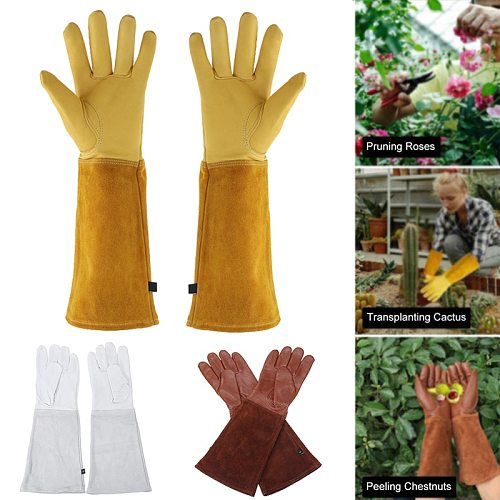 1 Pair Heavy Duty Gardening Rose Pruning Gauntlet Gloves Thorn Proof Long Sleeve Work Welding Garden Gloves