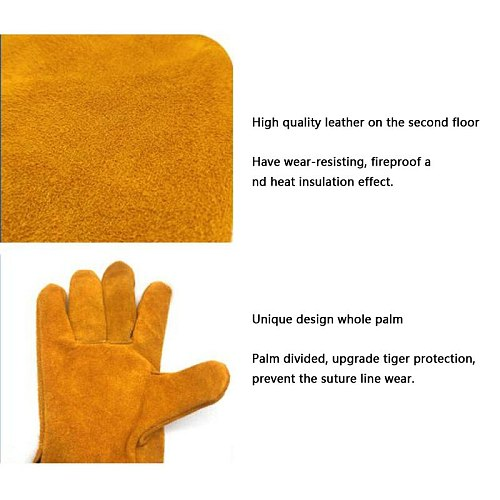 Cowhide two-layer welding gloves wear-resistant short full leather non-slip garden driver gloves insulation labor protection