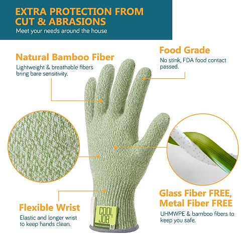 COOLJOB Bamboo Cut Resistant Gloves, Cut Proof Work Gloves, Food Grade Protection Cutting Gloves, Green Small Oversize (5 pair)