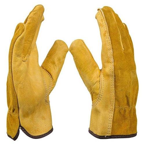 Garden Gloves Thorn Proof, 2 Pairs Heavy Duty Garden Gloves, Flexible and Durable Leather Work Gloves for Men Women