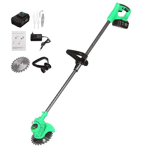 With 2xBattery Electric Lawn Mower 6000mah Li-ion Cordless Grass Trimmer Rechargeable Mower Household Cutter Garden Tools Kits
