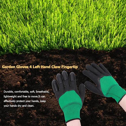 1 Pair Garden Digging Gloves with 4 Right Hand Fingertips Sharp+Fork Claws Easy to Dig and Plant Safe for Rose Pruning Gloves