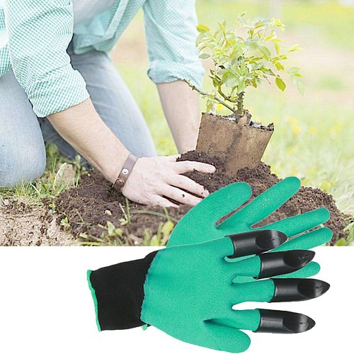 1 Pair Garden Gloves 4 Plastic Garden Rubber Gloves With Claws Rubber Polyester Builders Garden Work Latex Gloves